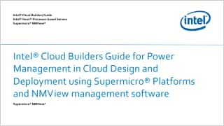 Intel® Cloud Builders Guide for Power Management in Cloud Design and